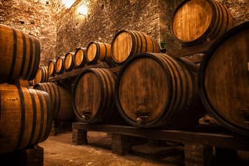 Spoed Foto op Canvas Wijn cellar with barrels for storage of wine, Italy
