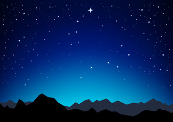 Night sky with the constellation of the Great and Little Dipper