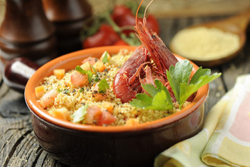 couscous vegetables and shrimp
