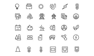 Energy Line Vector Icons 1