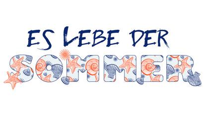 Seashell Summer - Summertime German text with seamless texture