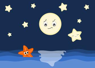 starfish in love with cute star cartoon illustration