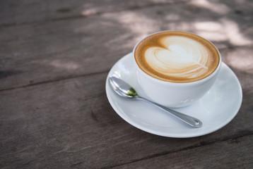 latte art coffee with heart shape