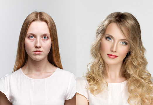 comparison two portraits before and after makeup and retouch