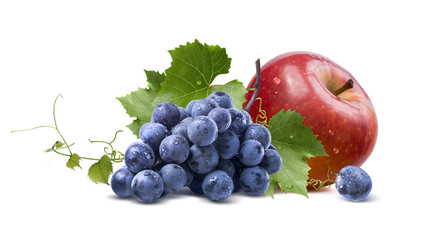 Wet grapes and red apple isolated on white background