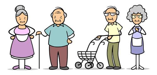 Gruppe Senioren mit Rollator und Gehstock