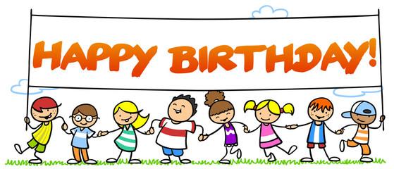 Kinder wünschen Happy Birthday!