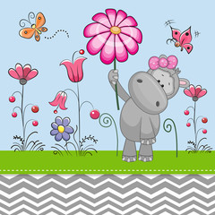Cute Hippo with a Flower