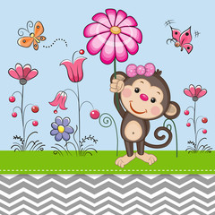 Cute Monkey with a Flower