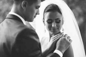 Happy couple on wedding day. Bride and Groom
