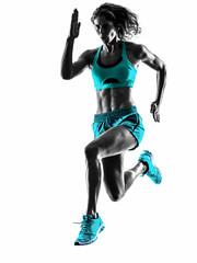 Wall Mural - woman runner running jogger jogging silhouette