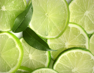 Sliced fresh limes, closeup