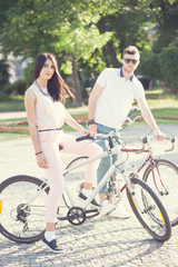 Young couple have bike riding