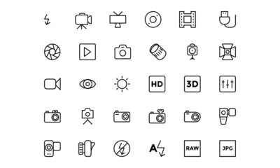 Photography Line Vector Icons 2