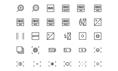 Photography Line Vector Icons 3