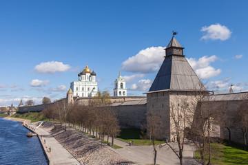 Pskov Kremlin spring sunny day, Russia