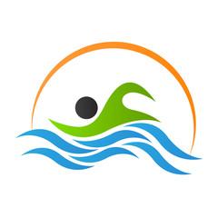 Swimming logo design isolated on white background.