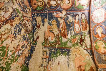 Early Christian fresco in cave church El Nazar, Cappadocia