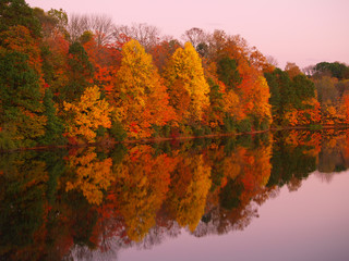 Mirrored Autumn Twilight at Lake Nockamixon  - Pennsylvania
