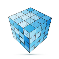 Three D cube blue