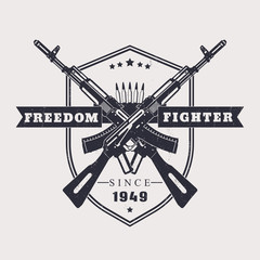 Freedom fighter t-shirt design, with crossed assault rifles