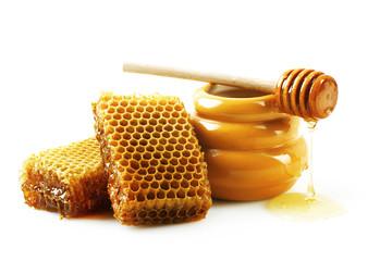 Honeycombs with honey.