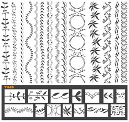Hand drawn vector line border set