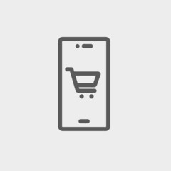Map and location of shopping cart thin line icon