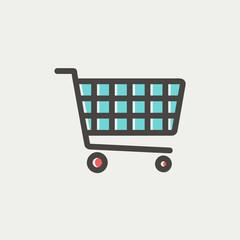 Shopping cart thin line icon