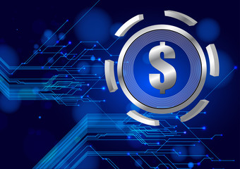 abstract blue technology with dollar vector background