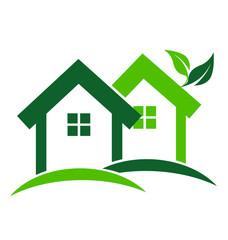 Modern green houses real estate logo