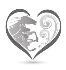 Cat dog horse and rabbit silhouettes floral heart love shape icon logo vector