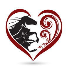 Pets love heart floral logo