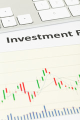 Investment report candle stick chart with keyboard