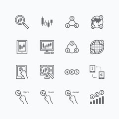 forex vector flat icons set of business finance online trading o