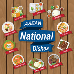 National dishes of ASEAN on wooden background