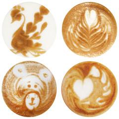 Coffee latte art collage
