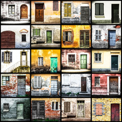 collage di vecchie porte e finestre