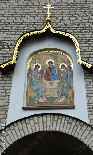 PSKOV, RUSSIA - MARCH 08: Mosaic gate icon