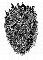 Hipster Hand drawn Vector pattern. Abstract background with line