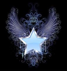blue star on a dark background