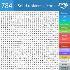 784 solid universal icons