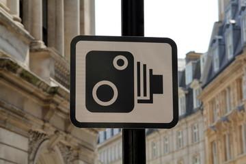 UK Speed Camera Sign in London