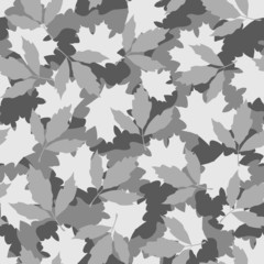 Foliage camouflage seamless pattern in grey hues