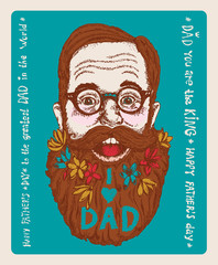 Super Dad greeting card with stylish text 'I love Dad'.