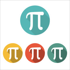 Mathematic Pi icon flat. Set of four color icons