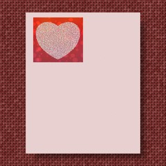 Writing paper with marsala knitted background and pink paper