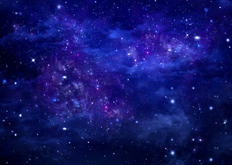 blue background, starry sky in the open space