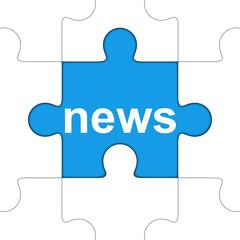 Icono texto news en puzzle con sombra