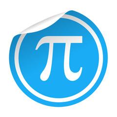 Pegatina azul con pestaña simbolo Pi